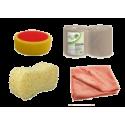 Microfibers, sponges, paper towels, accessories
